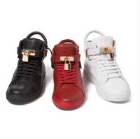 Promotions Original Quality Jon Buscemi 100mm Leather High Top Sneakers For Man And Women Red Black White Rare Designer Shoes