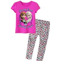 Aones Summer Frozen Girl Clothing Set Casual Princess Kids Elsa's Pajamas Set Cotton Children Homewear Suit Sleepwear APS043