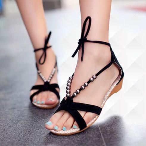 2014 novo mulheres verão sandálias apartamentos boho vintage calcanhar apartamento praia sapatos frete grátis 3 cores(China (Mainland))