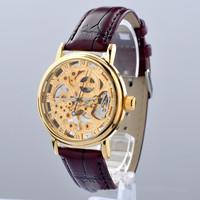 2014 new design genuine leather dial Band men/man half automatic Mechanical waterproof wrist Watch Mens Wristwatch