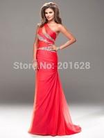 Fashionable One Shoulder Red Chiffon Long Bridesmaid Dress Sexy Sleeveless Sheath Floor-Length Bridesmaid Dress