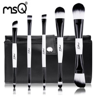 MSQ 5pcs Cosmetic Double And  Make up Brush Kit Makeup Brushes Tools +High Standard Brush Bag