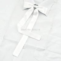 Women Girl Sailor School Pre-tied Satin Thin Bowtie Bow Neck Tie White