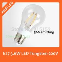 E27 3.6W Imitation Tungsten Lamp LED Bulb,COB Chip 220V,2014 New Arrival Lamp, 360 degree
