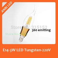 E14 3W Imitation Tungsten Lamp LED candle Bulb,COB Chip 220V,2014 New Arrival Lamp, 360 degree