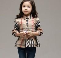 2014 autumn new arrival kids girls classic plaid shirt children plaid clothes long sleeve blouse 2colors