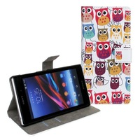2014 New Cute Cartoon Owl Case for Xperia Z1 L39h Wallet Stand Cases for sony covers skin with Card Holder Free shipping
