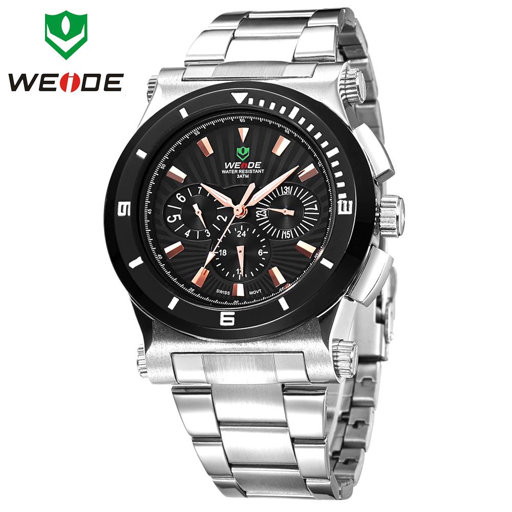 New WEIDE Watches Men Military Army Sports Diver Watch Date Day Original Swiss Quartz Full Steel Luxury Brand Fashion Wristwatch(China (Mainland))