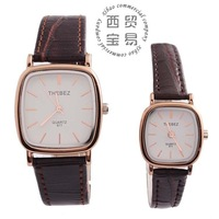 Hot selling Wholesale 2014 fashion vintage full stainless steel square dial Quartz waterproof leather couple's watch TBS811