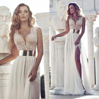 In Stock Luxury Beaded Evening Dresses High Slit Wedding Prom Dresses Gold Belt 2015 Chiffon Julie Vino Vestidos De Noche YD001