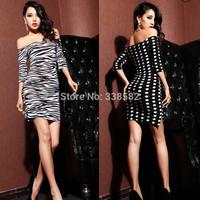 New Fashion Sexy Strapless Slash Neck Split Ends Dress Slim Package Hip  Dress Party Club Wear Free Shipping