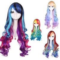 Lemail Free Shipping Lemail perucas 70CM Women Synthetic Hair Long Wavy Rainbow Cosplay Wig