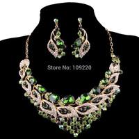Free Shipping 1set/lot Women New Fashion Crystal Rhinestone Earring Necklace Party Bridal Green Jewelry Sets AL08 WA564-4#