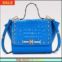 Fashion Handbag Genuine Leather Lady Shoulder Bag Alligator Female Cow Leather Messenger Bag Rivet Cover Women Bag B065