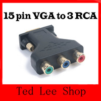 New 15 Pin VGA Male to 3 RCA Component Female M/F Adapter Connecter Converter Black + free shipping
