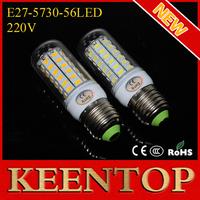 Energy-efficient E27 SMD Cree 5730 220V Led lights 56Leds Max18W Corn Solar Bulbs Ceiling Lamps Candle Soptlight 2Pcs/Lot