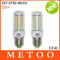 E27 220V 48LEDs Cree 5730SMD Max 15W brightest  Led lights Corn Bulbs lamps Energy Efficient Lighting 10Pcs/Lot