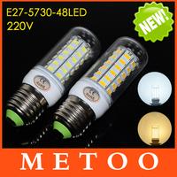 Foxanon Brand E27 220V 48LEDs Cree 5730SMD Chip Max 15W brightest Led lights Corn Bulbs lamps Energy Efficient Lighting 1Pcs/Lot