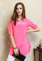 Silk Long Shirt/100% Natural Silk Crepe De Chine/2014 New Women Tops/Exclusive Desigual with Metal Belt/Factory Direct Wholesale