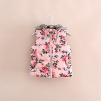 2014 new winter and autumn children clothing girls flowers outerwear coat jacket hooded waistcoat 2-8T high quality vest coat