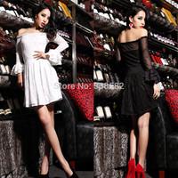 New Summer Sweet Slash Neck Strapless Lace Backless Dress Slim Sexy Women Clubwear Dresses Free Shipping