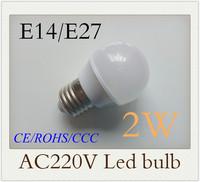 2W E27  E14 E27 Epistar 4pcs nature white/ warm white 220V led bubble ball bulb led bulbs