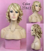Hot Sale Wholesale None Lace Wigs Natural Curly Wig  Women Curl Short  Blone Wigs 03130