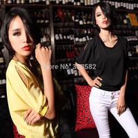 Free Shipping 2014 New Summer Women'S Chiffon Bat Sleeve Loose T-Shirt Sexy Female Models Hot Sale