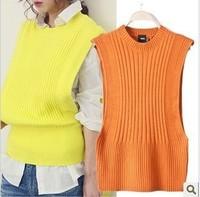 KOREAN Style !2014 new autumn women's warm slit neckline batwing sleeve cutout crochet shirt vest sweater pullover outwear