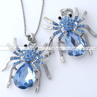 2Pcs/Lot Spider Blue Crystal Pendant Bead for Necklace New Free Shipping