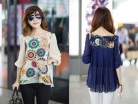 New Spring 2015Fashion Casual Desigual Women Body Chiffon Blouses Shirts Summer Women Clothing Dresses Tops For Women Plus Size