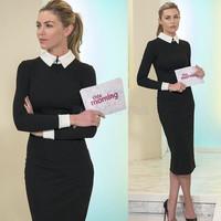 Hot New 2015 Plus Size Midi Dress Ladies Women Work Wear Winter Dress Party Evening Elegant Bodycon Pencil Formal Dresses Y1986