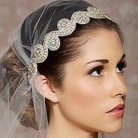 1 piece fashion romantic crystal bridal headband silk ribbon hair band for women wedding hair accessories headpiece jewelry