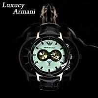 Brand Mens Fashion  Watch Genuine Leather Strap Watches Waterproof  Wristwatch Korean Fashion Clocks CL001