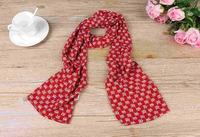 1PC 20*150cm fashion sweet style Cute Fox Printing Milan Linen silk blend scarf/WJ-133