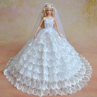 Fashion White Wedding Dress Clohtes For  Barbie Doll