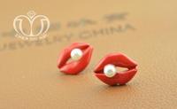 0.99$ 1 PCS Free Shipping Flaming Lips Personality Korean Fashion Sexy Earrings Inlaid Pearl Earrings 1033