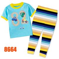 Girls Hello Kitty Pajamas Sets Children Autumn -Summer Clothing Set New 2014 Wholesale Kids Cartoon 2-7Y Pyjamas 8498