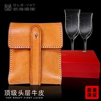 HongKong OLG.YAT Handmade carving leather waist hang bag Italy pure cowhide waist bag casual waist hang bags Cigarette package