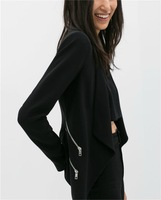 2014 New Fahion Women's Blazers And Jackets With Zipper Long-Sleeve Suit For Women Black None Button Ladies' Desigual Jacket