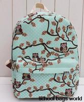 New 2014 OWL printing backpack children backpacks Mochilas women girls cartoon school bag brand shoulder bags canvas rucksacks