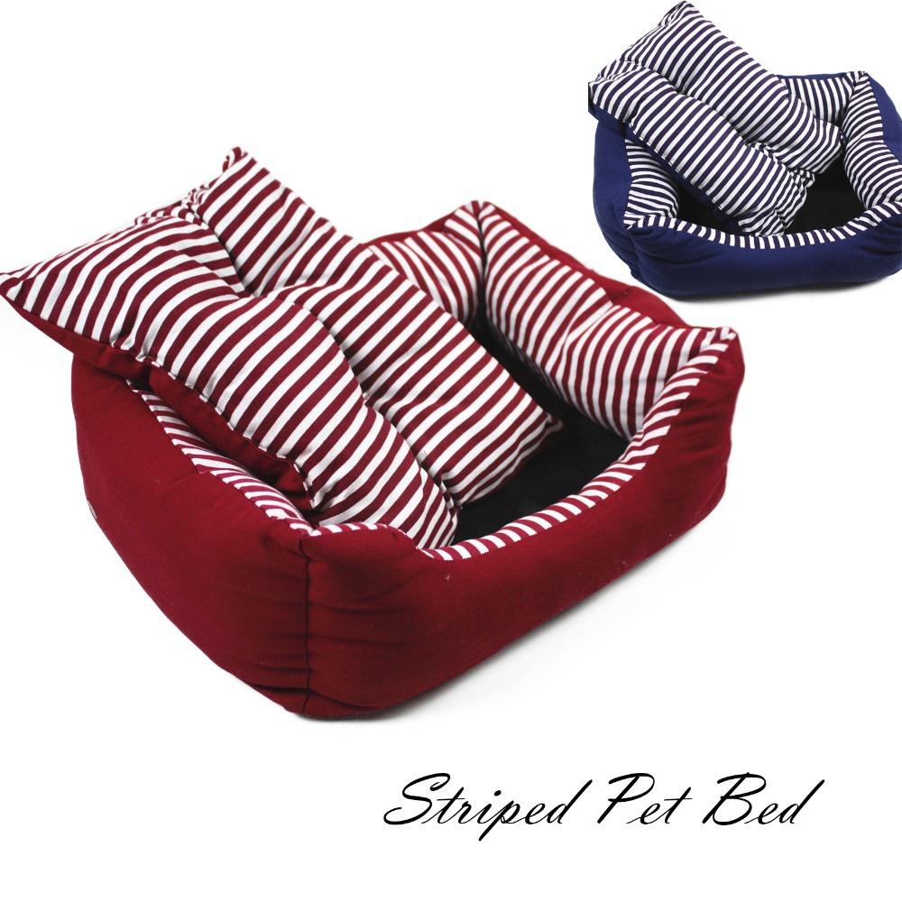 Grátis Dog grátis Soft Quente Dog Pet Bed Dog House Pet House Bed macio morno gato cão do canil Canvas listradas Chew Resistente(China (Mainland))