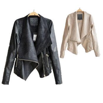 Женщины Leather jacket 2014 winter slim leather coat Кожа PU является высокотехнологичным ...
