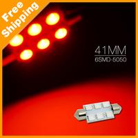 300Pcs Red 12V 41mm 6SMD 5050 License Festoon Dome LED Light LED For Car Interior Lamp #4077