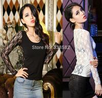 Drop Shipping Fashion Women Slim Sexy Lace  Printed O-Neck Long Sleeve T-Shirt Tops Shirt Tees