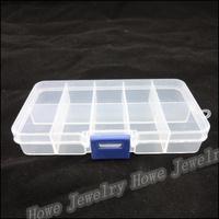 Wholesale Hot Portable 10 Lattice Transparent Plastic Box Grids Jewelry Storage Box  Makeup  Jewelry Box