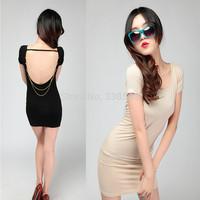 Free Shipping Sexy Big Backless Shiny Gold Chain Elegant Ladies Slim Hip Summer Basic One-Piece Dress