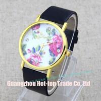 Rose Flower Watch GENEVA VintageWomen Leather Quartz Dress Watches Casual Pu Ladies Rhinestone Wristwatches New 2014 Fashion