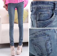 2014 spring new female Slim skinny jeans pencil pants feet long stretch pants Korean version of the trend