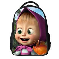 Gift 2015 canvas masha and bear backpack children girls cartoon backpack schoolbag primary student book bag mochia kids